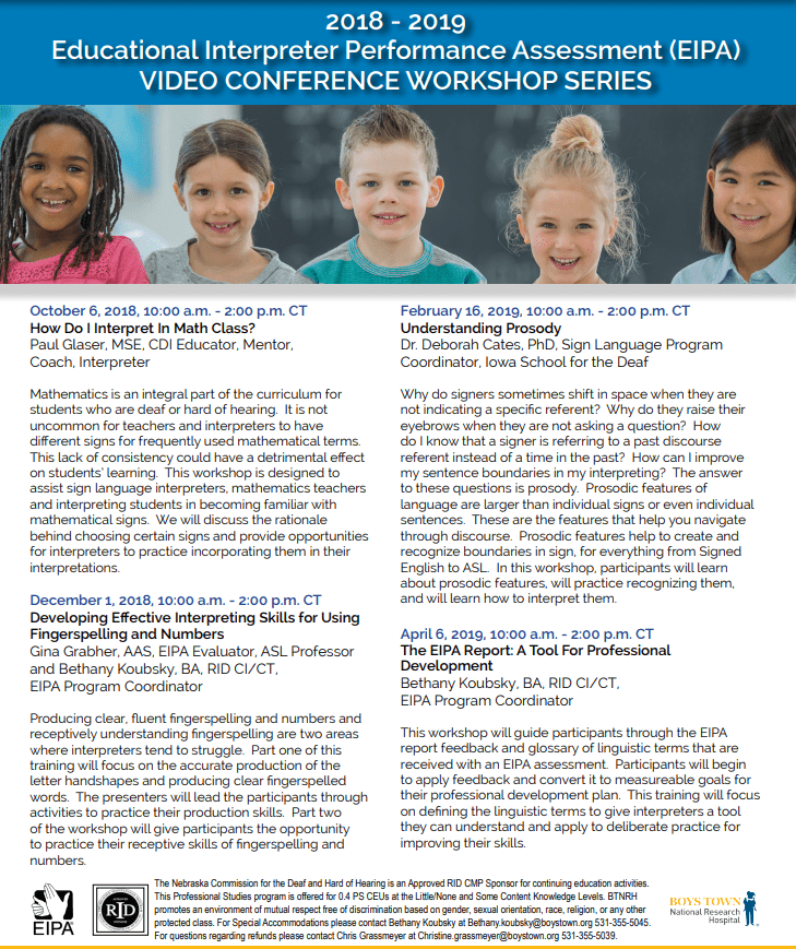 2018 – 2019 Educational Interpreter Performance Assessment (EIPA